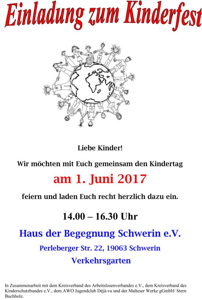 einladung zum kinderfest - 1. juni 2017 im haus der begegnung, Einladungen
