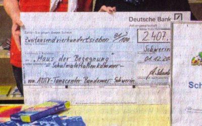 """Schweriner Express vom 21.12.2019, Artikel: """"Getanzt für Stifte und Farben"""""""