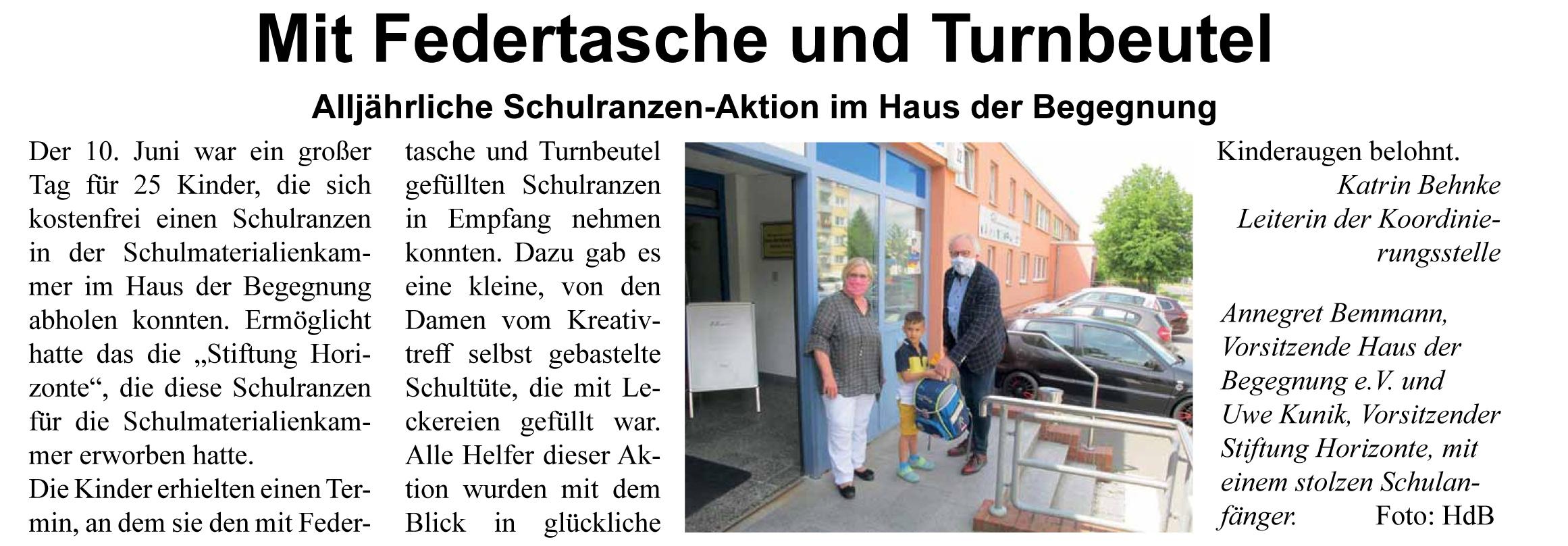 Artikel, Schweriner Turmblick, Ausgabe August 2020,