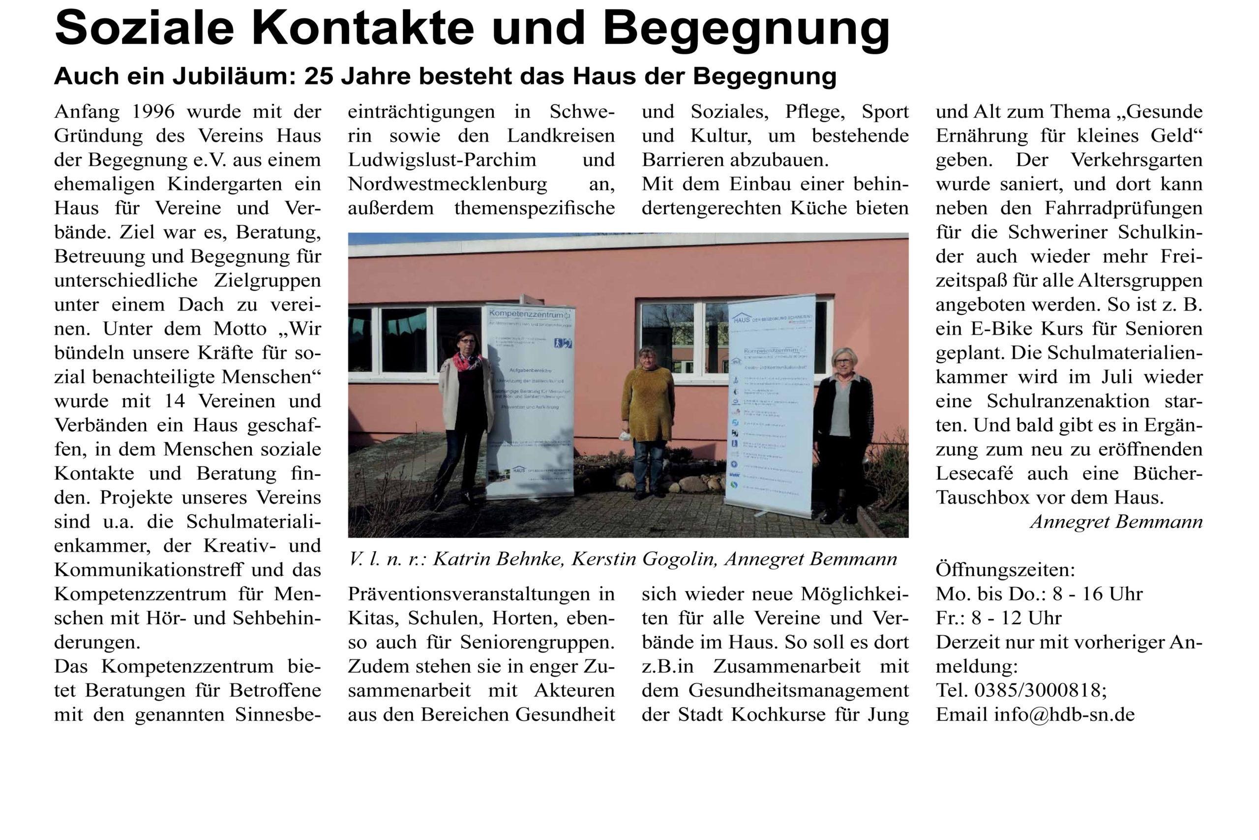 """Schweriner Turmblick Ausgabe Mai 2021 Artikel """"Soziale Kontakte und Begegnung"""""""