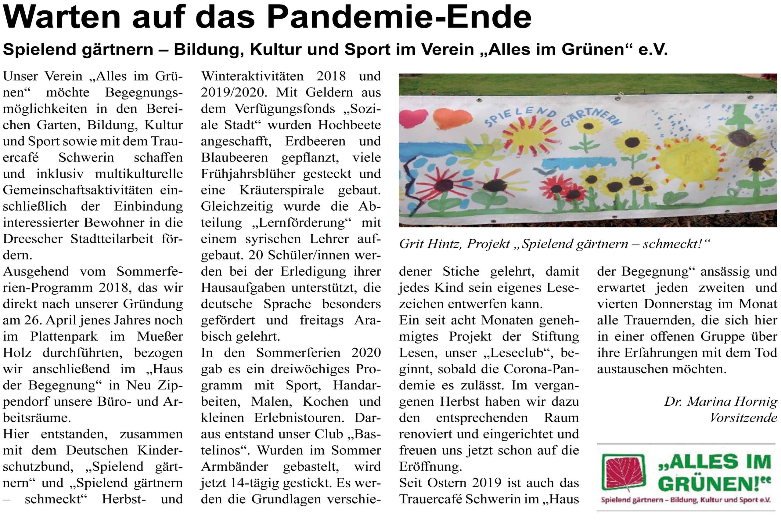 """Schweriner Turmblick Ausgabe Mai 2021 Artikel """"Warten auf das Pandemie-Ende"""""""